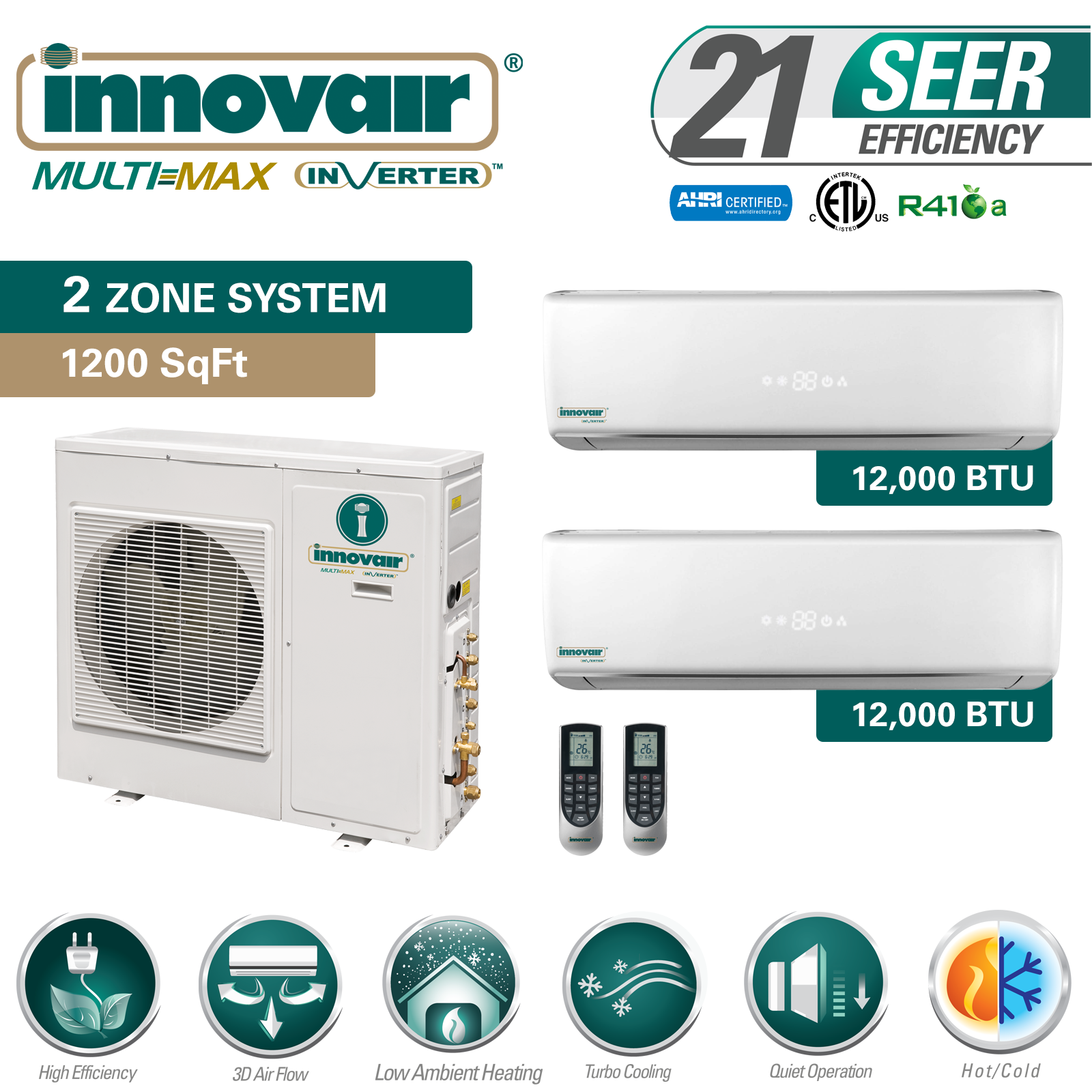Details about 24000 BTU Dual Zone Ductless Mini Split Air Conditioner Heat  Pump SEER 21 Multi
