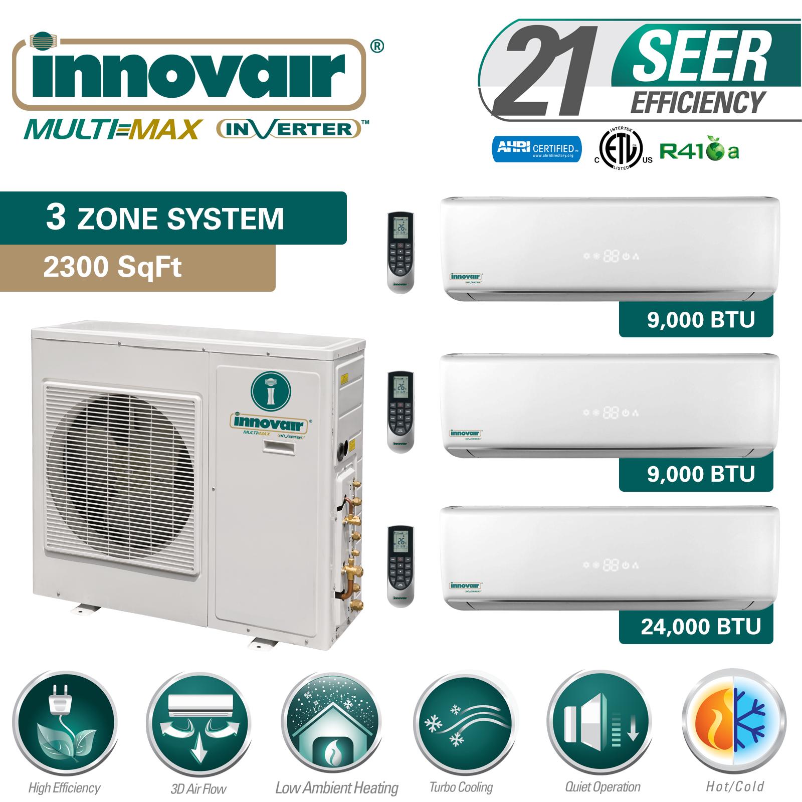 42000 Btu Tri Zone Ductless Mini Split Air Conditioner Heat Pump
